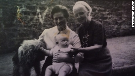 Rita McCann, pictured with her son after his birth in 1957.