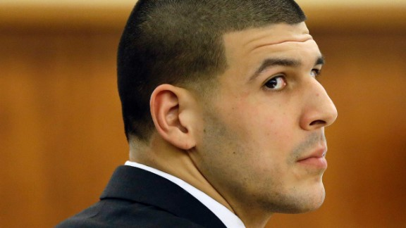 Former NFL football player Aaron Hernandez attends his murder trial in Fall River, Massachusetts, on Thursday, January 29. The state accused Hernandez of orchestrating the shooting death of semi-pro player Odin Lloyd, the boyfriend of his fiancee