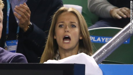 Kim Sears celebrates as her boyfriend Andy Murray wins his semifinal match against Tomas Berdych of the Czech Republic during day 11 of the 2015 Australian Open in Melbourne.