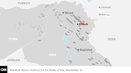 Kirkuk, in northeast Iraq, is located on top of some of the country's largest oil reserves.