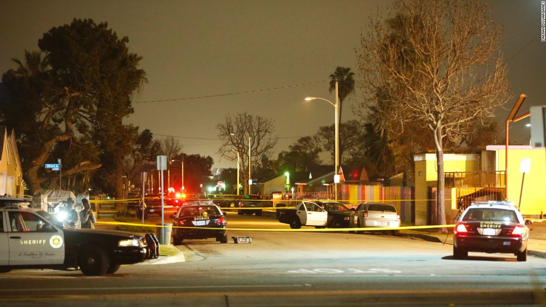 The scene of the incident is blocked off by law enforcement on January 29, 2015 in Compton.