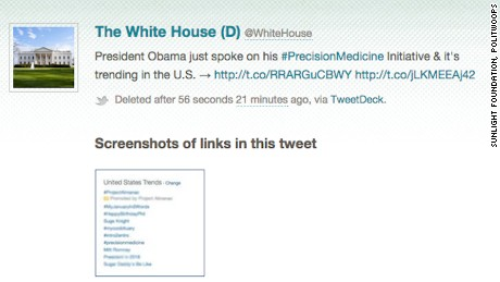 Politwoops captures White House deleted tweet