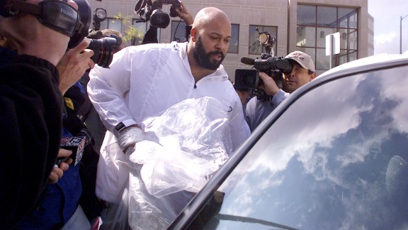 """Music producer Marion """"Suge"""" Knight of Death Row records exits Los Angeles County Jail after being in jail for over two months for parole violations on February 26, 2002 in Los Angeles, California."""