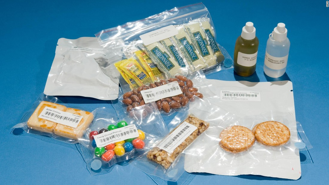 These days food on the International Space Station includes natural form foods and condiments such as mayonnaise, mustard, chilli sauce and wasabi -- all popular with astronauts trying to make up for the flavor deficit caused by zero gravity. The fare has certainly come a long way since the early days of space travel ...