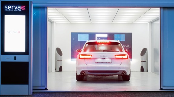 The company claims that its space-saving system -- which uses lasers and sensors to measure not just the height and width of the cars but accessories such as wing mirrors and fenders -- can park 60% more cars than a human driver.