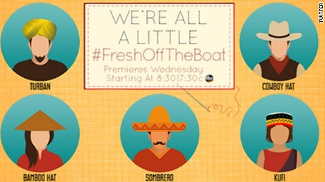 This graphic, attached to a tweet  promoting the sitcom Fresh Off The Boat, was deleted after story creator Eddie Huang complained.