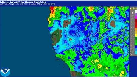 This NOAA image shows the last month of rainfall levels across the state. There is a noticeable hole over the Bay Area, extending inland.