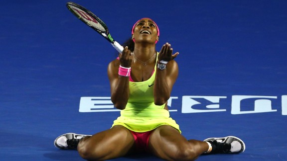 She floored Williams after a punishing rally.