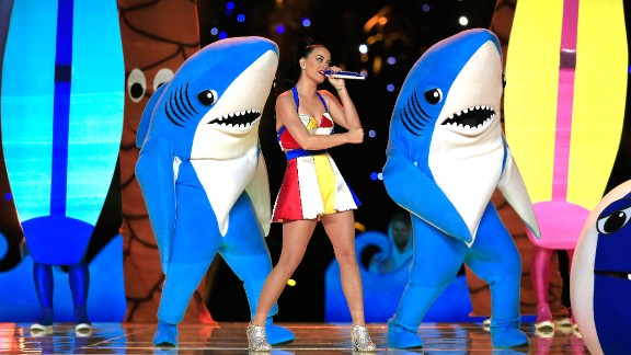 These dancing sharks (especially the left one) became an Internet meme after dancing with Katy Perry during the Super Bowl halftime show in February.