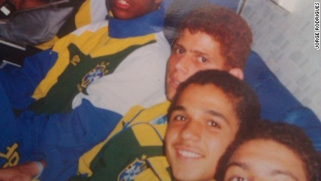 A youthful Jorge Rodrigues (far left) sits with Brazil under-17 teammate Ronaldo (far right)