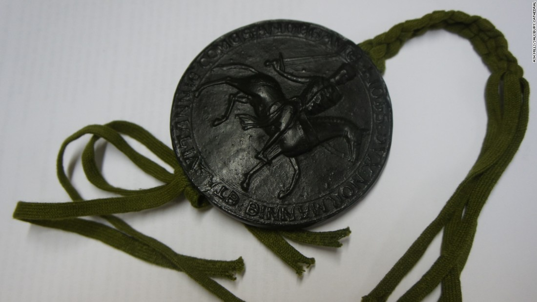The Magna Carta was not signed by King John -- instead his official seal was attached to it. This replica shows what it would have looked like. Only one of the four surviving copies, one of the pair held in the British Library, still has the remnants of its seal.