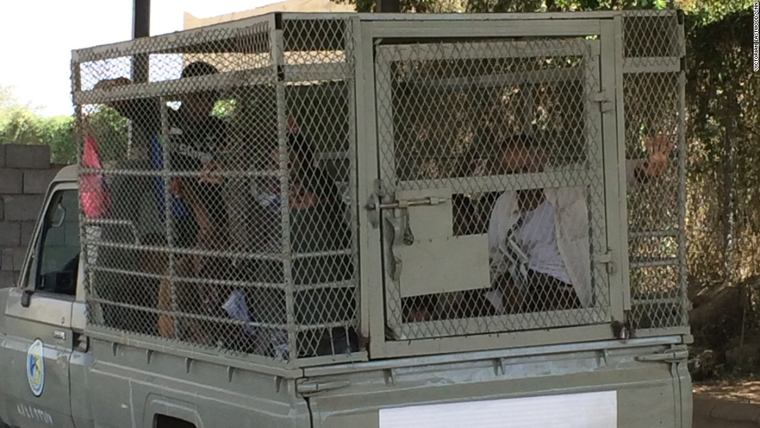 The men crowded inside the mesh cage welded to a pickup truck told us they had come to Saudi Arabia for work. One of them was just 11 years old.