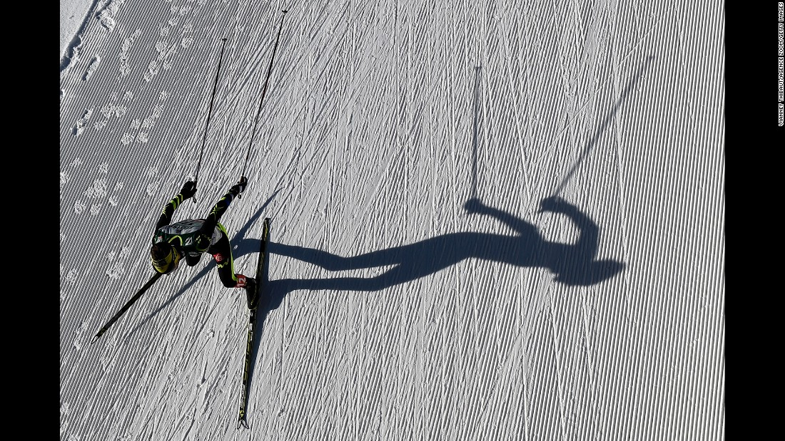 French athlete Maxime Laheurte competes in a Nordic combined event Saturday, January 31, during a World Cup meet in Val di Fiemme, Italy. Nordic combined involves both cross-country skiing and ski jumping.