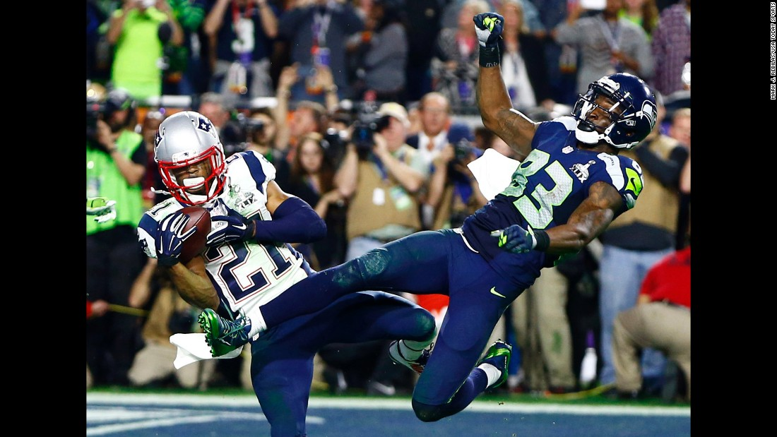 New England rookie Malcolm Butler makes a goal-line interception during Super Bowl XLIX on Sunday, February 1. The play clinched the Patriots' victory in the last minute of the game.