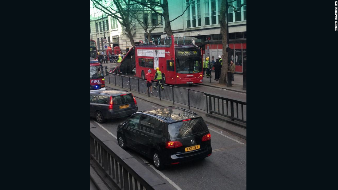 """Five people have been treated by the London Ambulance Service for minor injuries and two of them have been taken to hospital,"" said London Fire Brigade Station Manager Gary Squires."