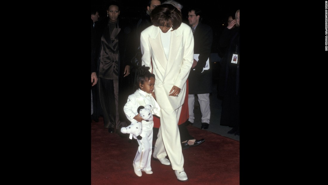"Bobbi Kristina, 3, accompanies her mother to the premiere of ""The Preacher's Wife"" in 1996."