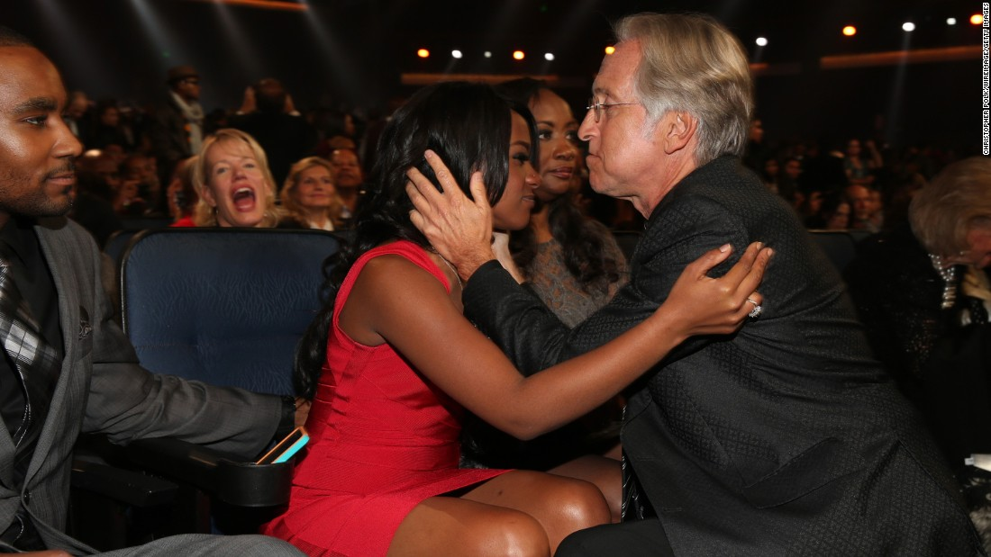 "Bobbi Kristina and Neil Portnow, president of the National Academy of Recording Arts and Sciences, attend ""We Will Always Love You: A Grammy Salute to Whitney Houston"" in October 2012."