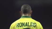Ronaldo of Brazil with his back to the camera during the match against France in the Tournoi De France in Lyon, France. The game was drawn 1-1.  Mandatory Credit: Shaun Botterill /Allsport