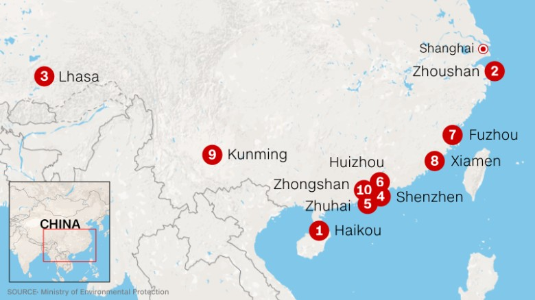 Only 8 chinese cities meet air quality standards cnn the 10 chinese cities with the best air quality gumiabroncs Images