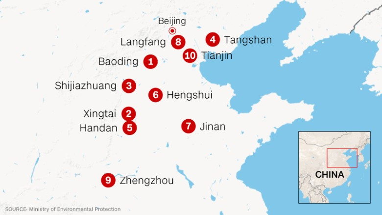 Only 8 chinese cities meet air quality standards cnn the 10 chinese cities with the worst air pollution gumiabroncs Images