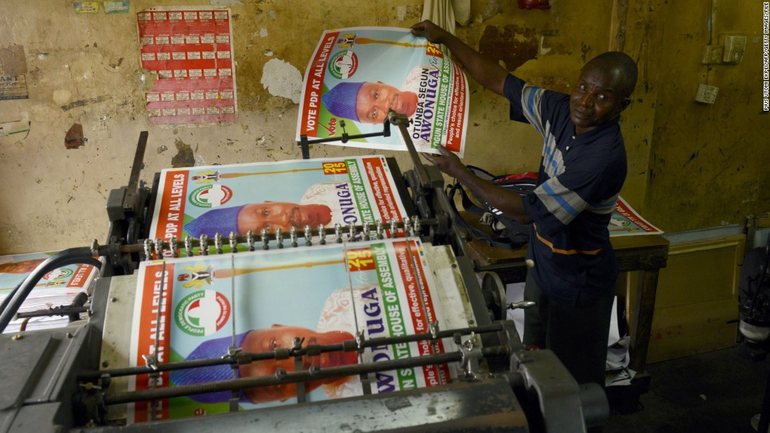 In the battle for votes, all political parties are putting posters up in major cities and towns across the country. In a recent survey carried out by Afrobarometer, Jonathan's performance received approval from 39% of citizens and disapproval from 59%.