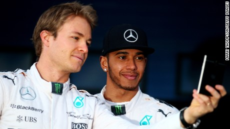 Mercedes' teammates Nico Rosberg (L) and Lewis Hamilton will renew their rivalry in the 2015 F1 season