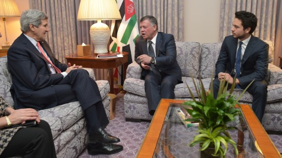 U.S. Secretary of State John Kerry, left, meets with Jordan
