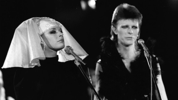 """In 1973, British singer and actress Marianne Faithfull performed """"I Got You Babe"""" with David Bowie at a live recording for a Midnight Special TV show made at The Marquee Club in London. Those present were specially invited members of Bowie's fanclub."""