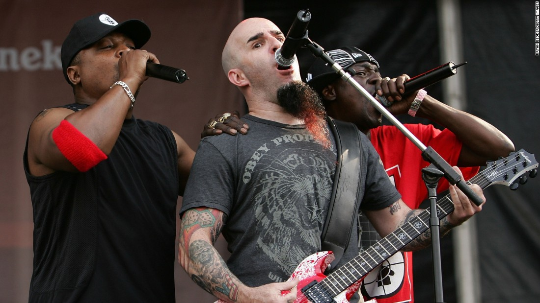 "Metal met rap when the band Anthrax teamed with Public Enemy for a new version of the latter's hit ""Bring the Noise."" Here Anthrax guitarist Scott Ian, center, performs with Chuck D and Flava Flav of Public Enemy perform on stage at the ""Rock The Bells"" tour in July 2007 in New York."