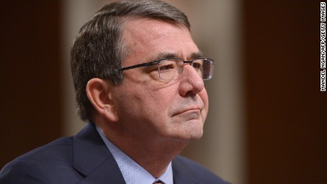Ashton Carter is seated to testify before the Senate Armed Services Committee on his nomination to be the next secretary of defense, in the Dirksen Senate Office Building on February 4, 2015 on Capitol Hill in Washington, DC.