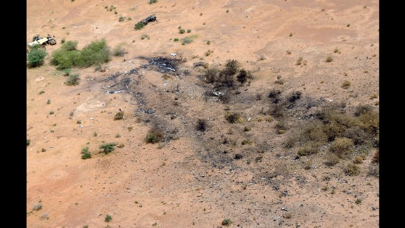 "The crash site of Air Algerie Flight AH 5017 in Mali is visible from above on July 26, 2014. After the crash, French President François Hollande said the jet was found in a ""disintegrated state."" He said there were no survivors."