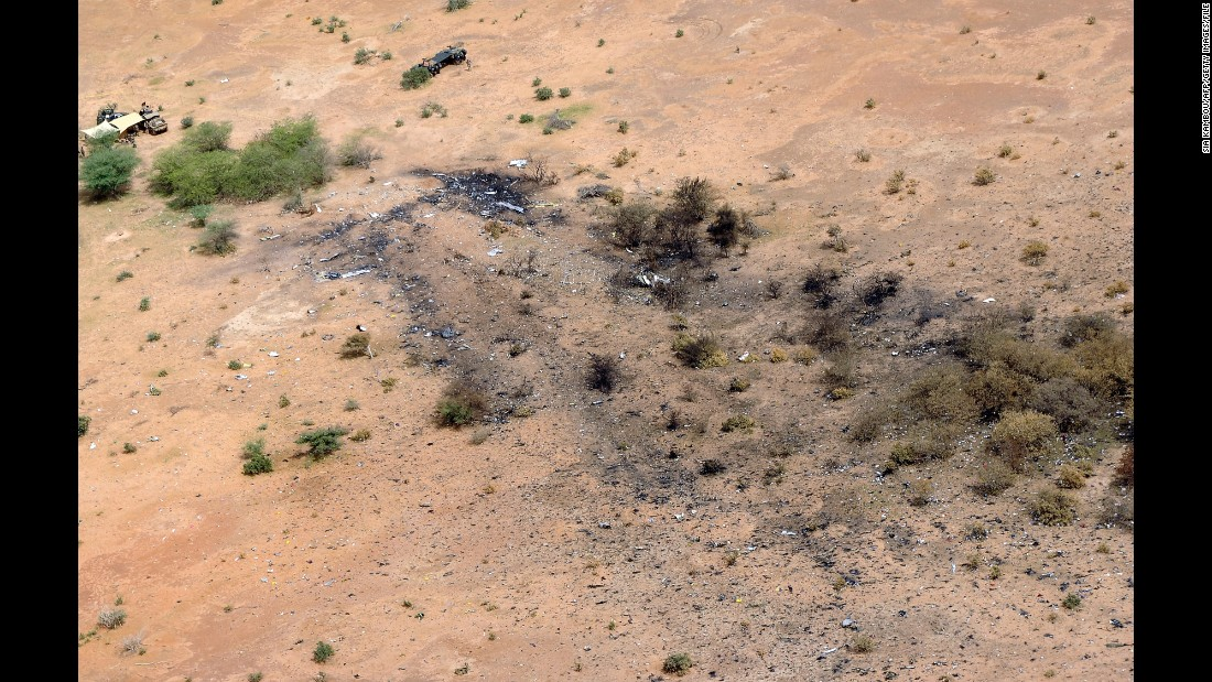 "The crash site of Air Algerie Flight AH 5017 in Mali is visible from above on July 26, 2014. <a href=""http://www.cnn.com/2014/07/25/world/africa/air-algerie-crash/"">After the crash, French President François Hollande</a> said the jet was found in a ""disintegrated state."" He said there were no survivors."