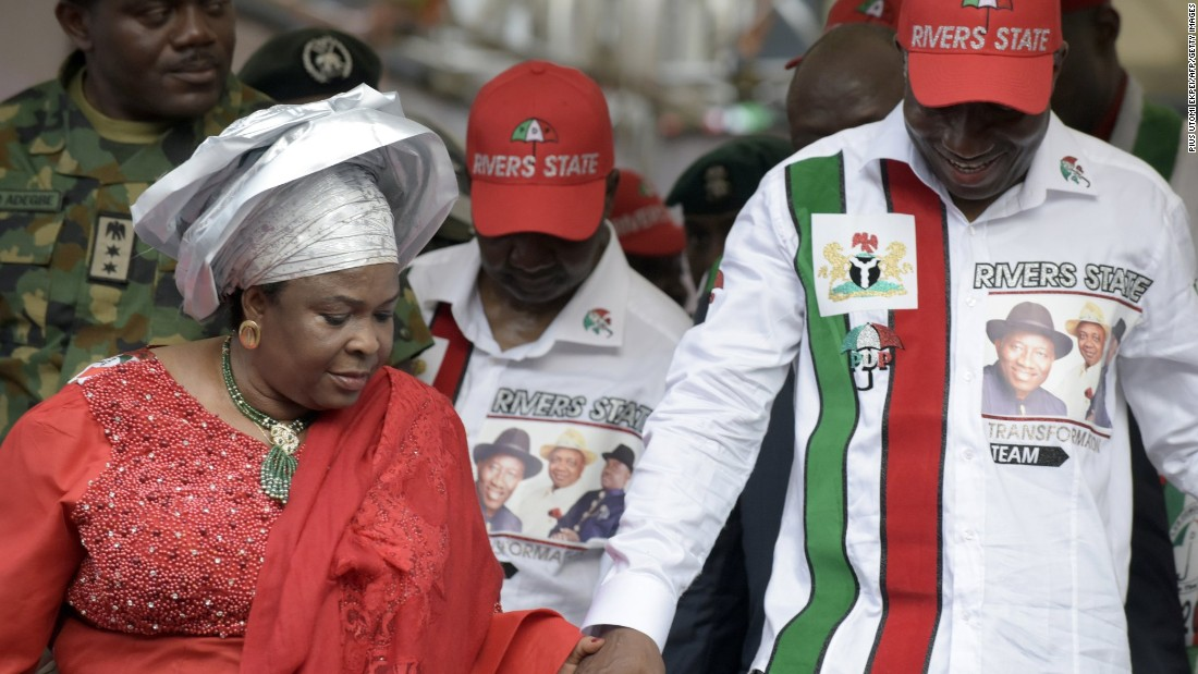 Incumbent President Goodluck Jonathan and his wife Patience arrive at a party rally in Port Harcourt in the oil-rich Niger Delta on January 28.<br /><br />