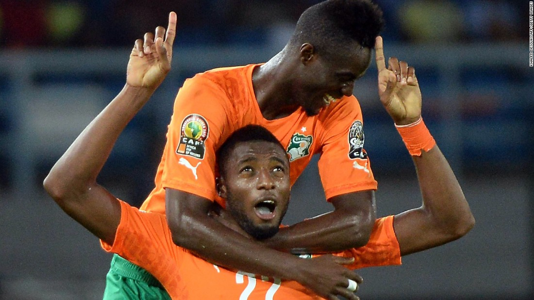 Wilfried Kanon celebrates after scoring the third goal versus Democratic Republic of Congo for Ivory Coast, who won 3-1 to seal a place in Sunday's final against either Ghana or tournament hosts Equatorial Guinea.