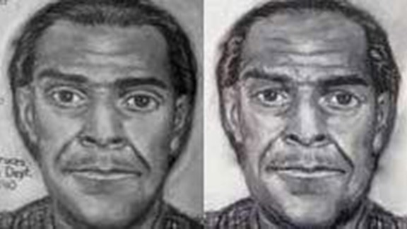 Composite sketches of the older suspect from 1990 (left), and what police think he would have looked like in 2005.