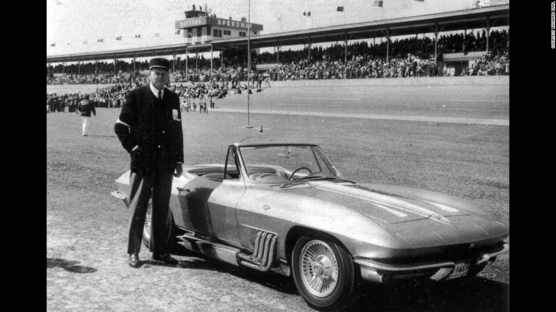 Posing with his '63 roadster at Daytona Speedway, Harley Earl shows his love for NASCAR. Daytona eventually named its race trophy after Earl. In this photo, taken around 1964, Earl is wearing a hat given to him by former French President Charles de Gaulle, said grandson Richard Earl.