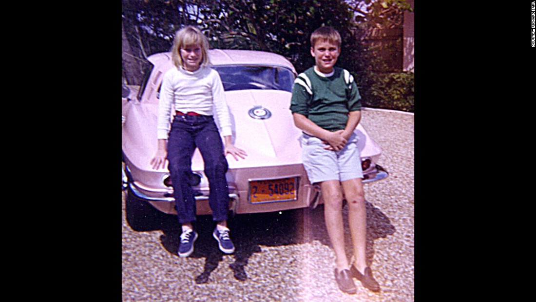 Sue Earl's 1965 Sting Ray and two of her and Harley Earl's grandchildren, Suzie, left, and Courtney, right.