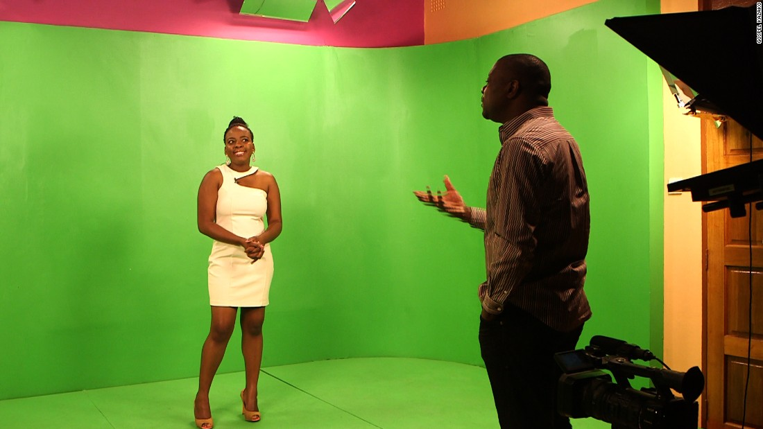 "Kazako and a presenter in a green screen studio at Zodiak TV, the entrepreneur's latest venture. ""This country is on the move,"" he says. ""We are hoping that in the next few years many households will have TV sets."""