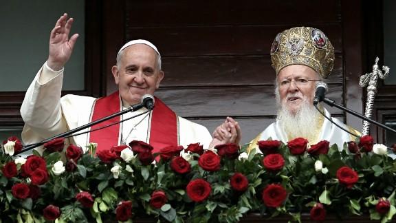 Pope Francis and Ecumenical Patriarch Bartholomew I address the faithful in Istanbul on Sunday, November 30, 2014.
