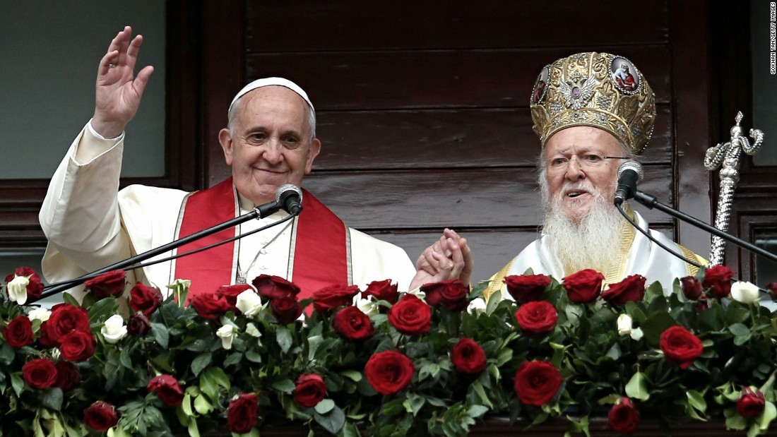Pope Francis and Ecumenical Patriarch Bartholomew I address the faithful in Istanbul on Sunday, November 30, 2014.