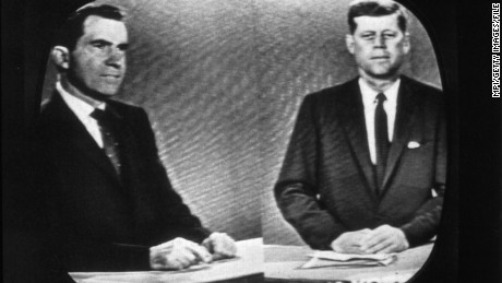 Presidential candidates Richard Nixon (left), later the 37th President of the United States, and John F Kennedy, the 35th President, during a televised debate.