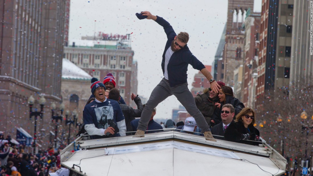 "New England Patriots wide receiver Julian Edelman simulates a touchdown spike during the team's victory parade in Boston on Wednesday, February 4. The Patriots defeated the Seattle Seahawks 28-24 in <a href=""http://www.cnn.com/2015/02/01/us/gallery/super-bowl-xlix/index.html"" target=""_blank"">Super Bowl XLIX.</a> Edelman caught the game-winning touchdown pass."