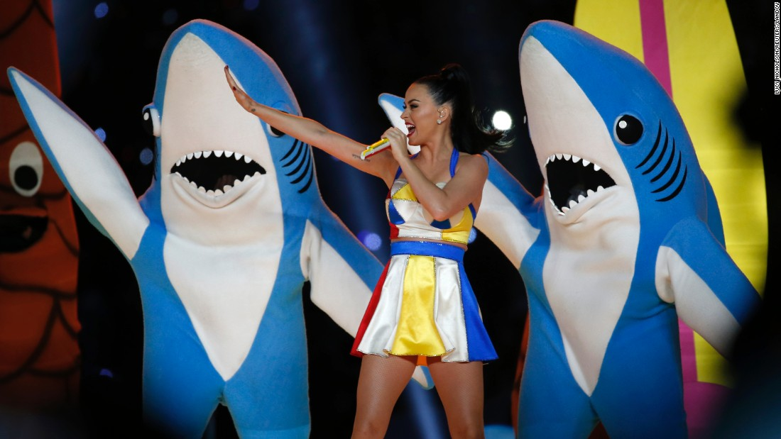 "Katy Perry performs during <a href=""http://www.cnn.com/2015/02/01/entertainment/gallery/super-bowl-xlix-halftime-show/index.html"" target=""_blank"">the Super Bowl halftime show</a> Sunday, February 1, in Glendale, Arizona. That <a href=""http://www.cnn.com/2015/02/02/opinion/cupp-leave-left-shark-alone/index.html"" target=""_blank"">shark on the left</a> became quite popular following the performance."