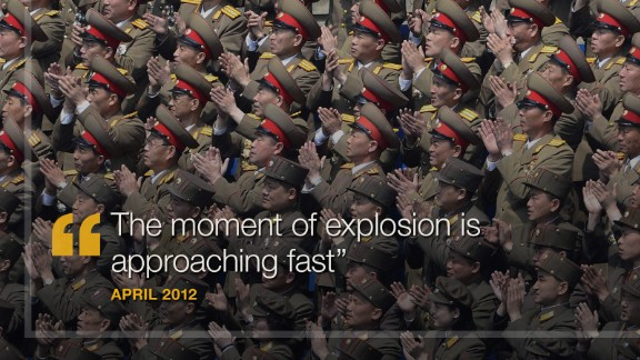 "April 2012: North Korea's state-run news agency reported that ""the moment of explosion is approaching fast"" and promised ""merciless"" strikes against the United States. ""The U.S. had better ponder over the prevailing grave situation,"" it said. Later that month, Pyongyang launched a long-range rocket that broke apart and fell into the sea. The launch came during preparations for a grand party that celebrated the 100th anniversary of the birth of Kim Il Sung, the founder of North Korea."