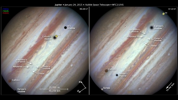 The Hubble Space Telescope captured images of Jupiter