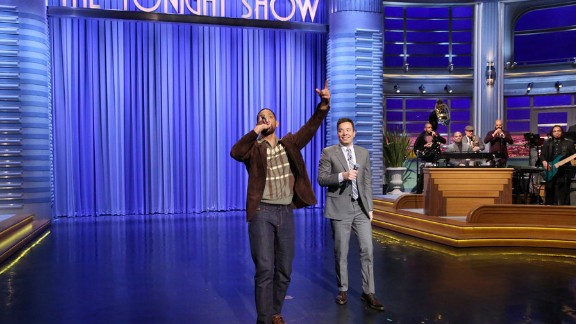 "Actor Will Smith and host Jimmy Fallon rap on ""The Tonight Show"" on Thursday."