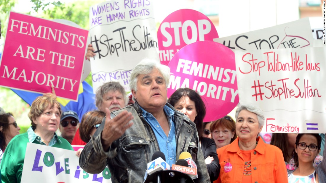 Jay Leno spoke at a gathering of women's rights and LGBT groups protesting across the street from the Beverly Hills Hotel in May.