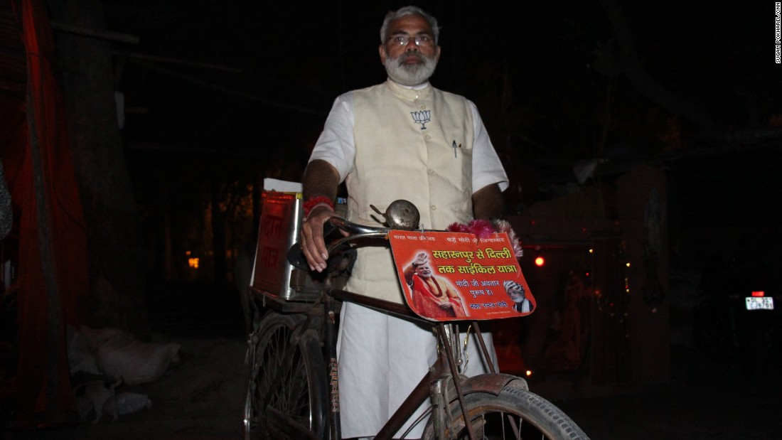 Pathak traveled the 170 kilometers to New Delhi on his bicycle from Saharanpur, a remote town in Northern India, to campaign for Modi's Bharatiya Janata Party (BJP) for the Delhi Assembly elections.