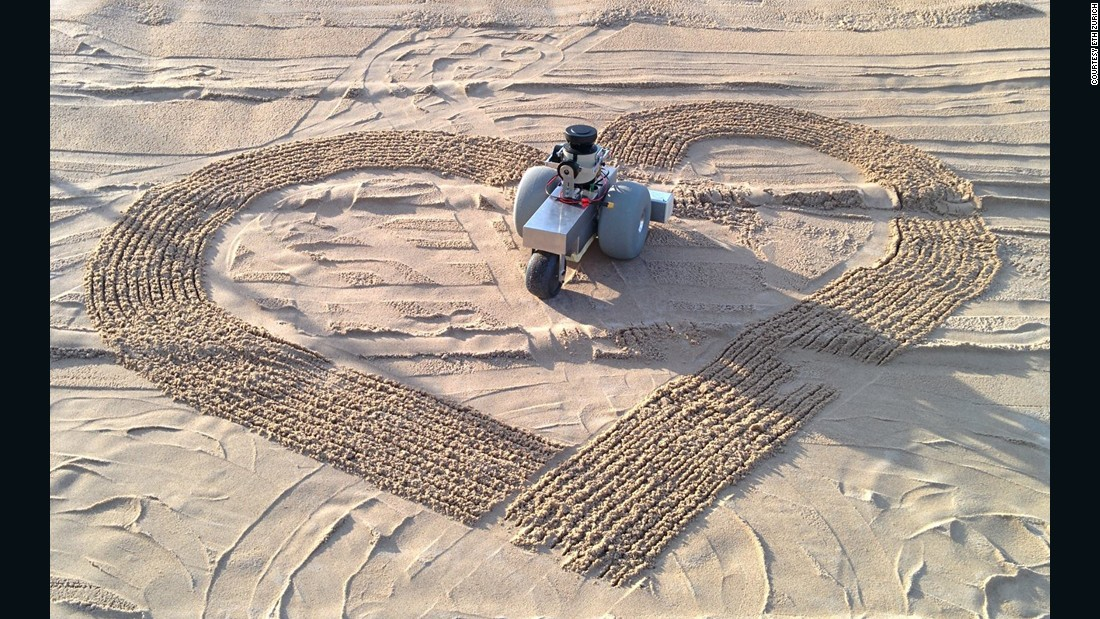 The laser-based positioning system allows the BeachBot to draw accurately down to the millimeter.