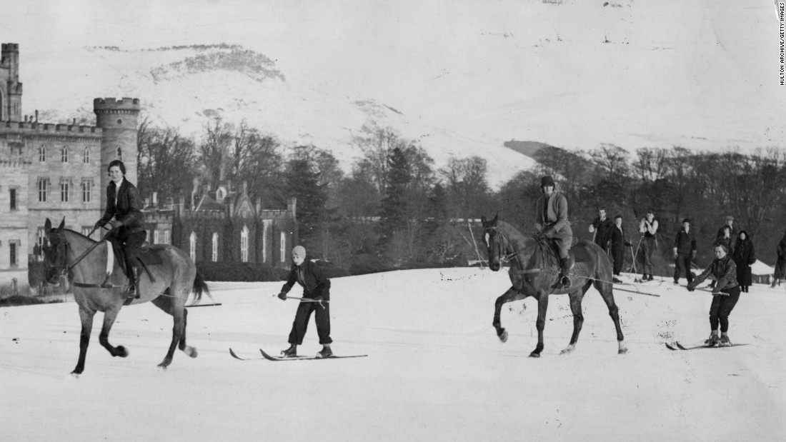A long established tradition, it is not always about competition. These skiers partake in leisurely fashion back in 1931 at Taymouth Castle in Scotland.